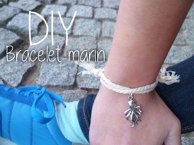 DIY - Bracelet simple inspiration marine corde et métal