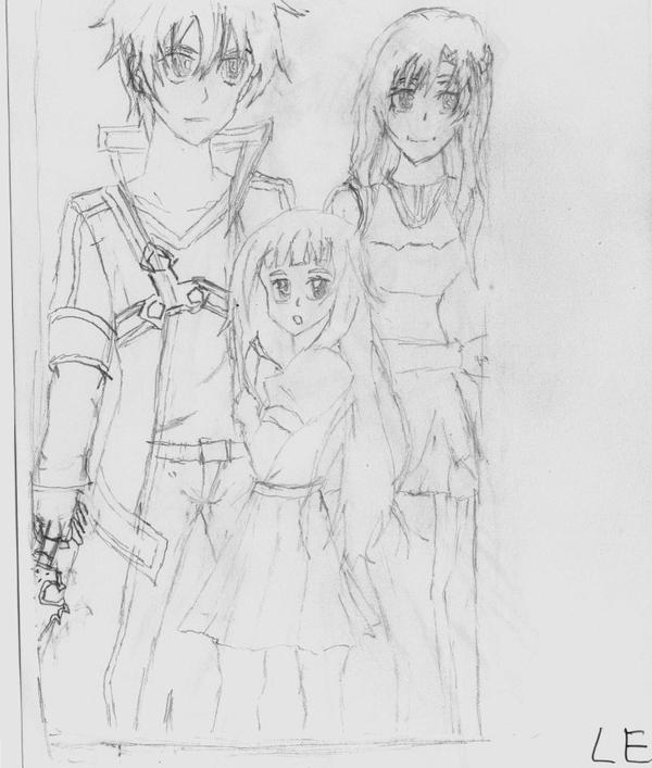 Mon dessin SAO  Asuna, Kirito , Yui