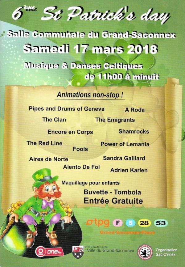 ♥ 6ème Fête St-Patrick's 2018 au Grand-Saconnex - 17 mars 2018 - Programme ♥