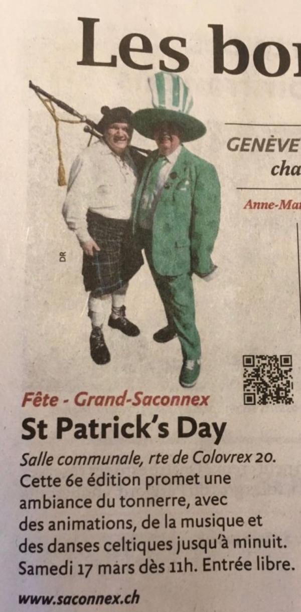 ♥ J - 1 - 6ème Fête St-Patrick's 2018 au Grand-Saconnex ♥