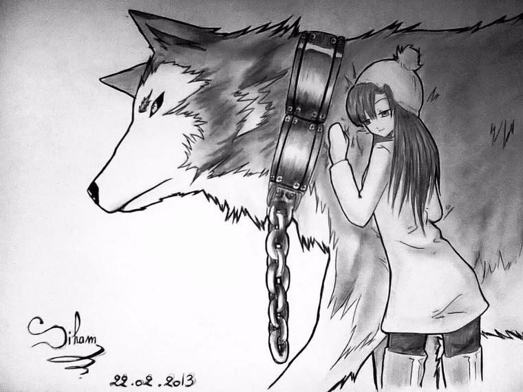 Loup Et Fille Dessin Fait Par Siham Bouyerbou Sihams