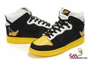 meet 456c2 78259 Nike Dunk High Daffy Duck Mens Custom Black Yellow - Warming