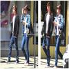 .+ Selena & son cousin Brandon sortant d'un café ce 9 mai .