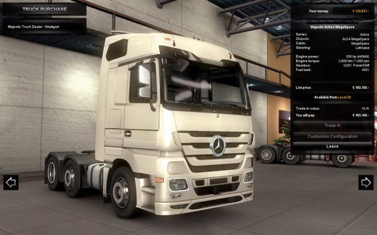 concessionnaire mercedes actros et configuration personnalisation truck game. Black Bedroom Furniture Sets. Home Design Ideas