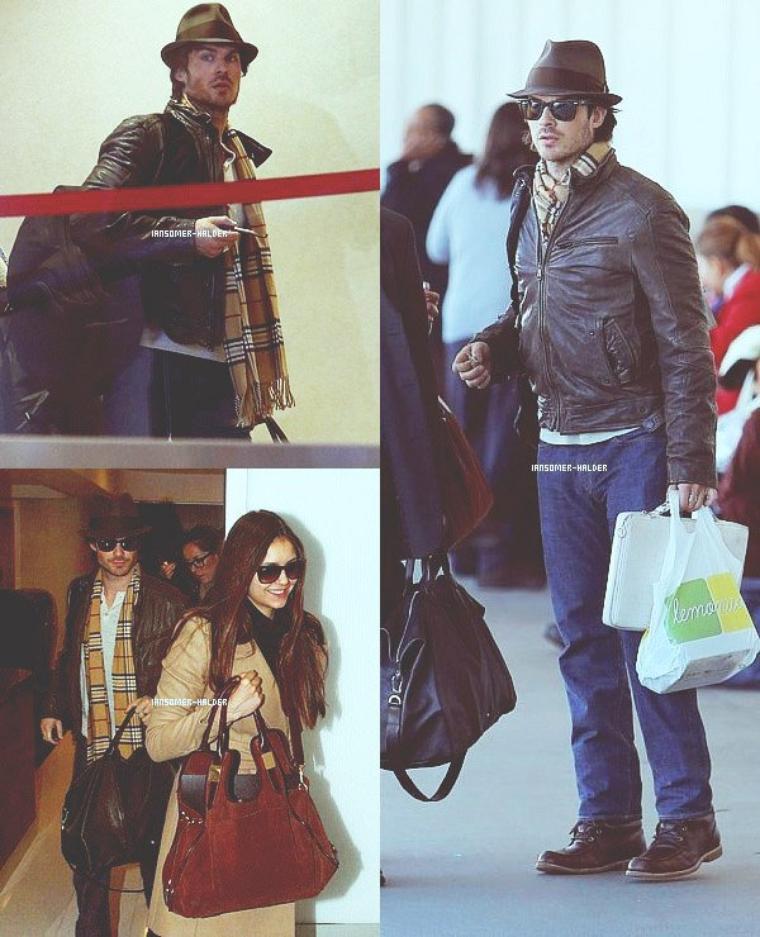 Ian a l'aéroport de LAX avec Nina pour aller en Chine.  | Le 26 décembre 2012.