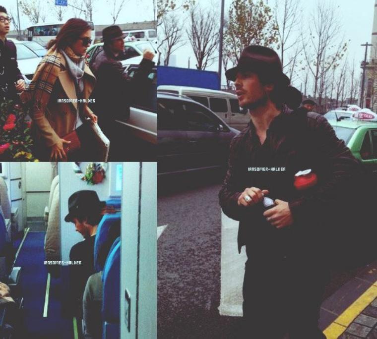 Ian et Nina à l'aéroport de Shanghai certainement pour rentré chez lui.  | Le 29 décembre 2012.