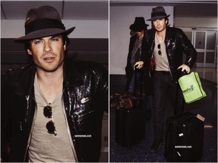 Ian et Nikki embarquant à l'aéroport de LAX ce 29 février 2016