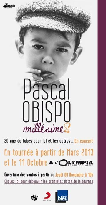 Voici les dates de la Tournée de Pascal Obispo (1ère partie)