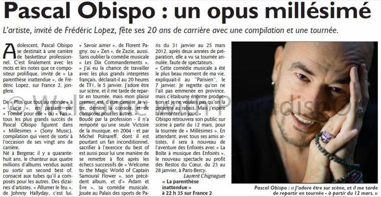 PRESSE 2  : @ObispoPascal dans L'EST ECLAIR, LE REPUBLICAIN LORRAIN ...