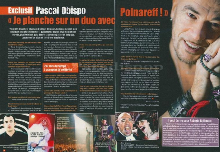 @ObispoPascal aime la #Belgique et @RobertoBella01 - à venir nouvel album fin 2013