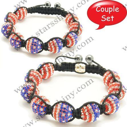 Shamballa Bracelet Couple Set, 14mm & 10mm round US flag clay A grade rhinestone beads