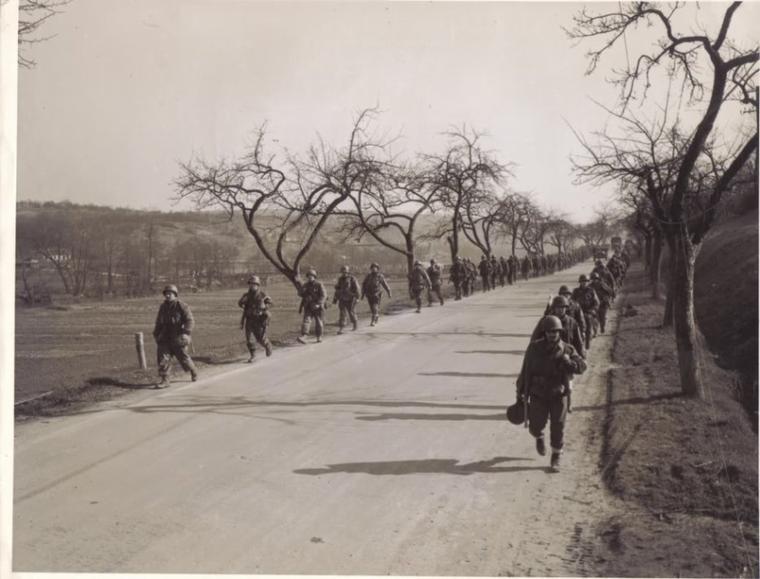 Grossbliederstroff 3rd BN, 276th Infantry. 13 March 1945