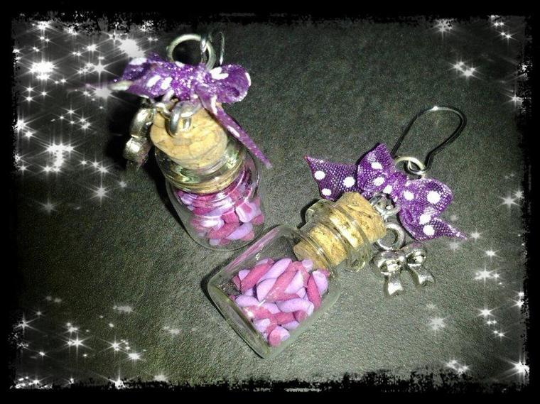 Boucles d'oreilles fioles sucreries violette