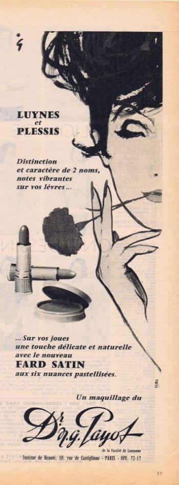🎨 Dessin de René Gruau 🎨 💋 💄Maquillage 💋 💄 Dr. N.G. Payot 💋 💄