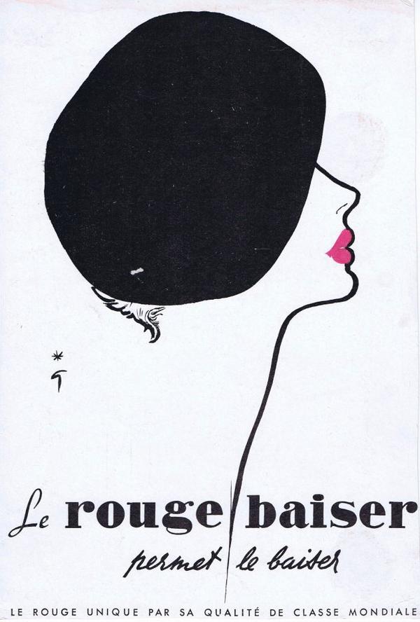 🎨 Dessin de René Gruau 🎨 💄 💋  Maquillage 💋 💄  Le Rouge Baiser 💋 💄