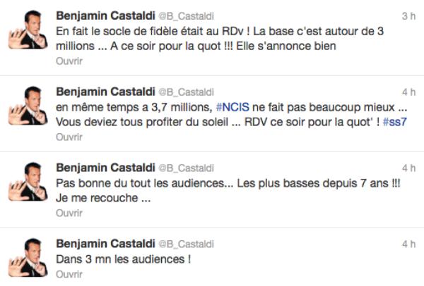 Secret Story 7: Audience catastrophique, Benjamin Castaldi déprime sur twitter