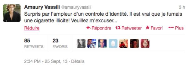 Amaury Vassili: Placé en garde à vue pour détention de cannabis il présente des excuses plus ou moins fumeuse sur Twitter