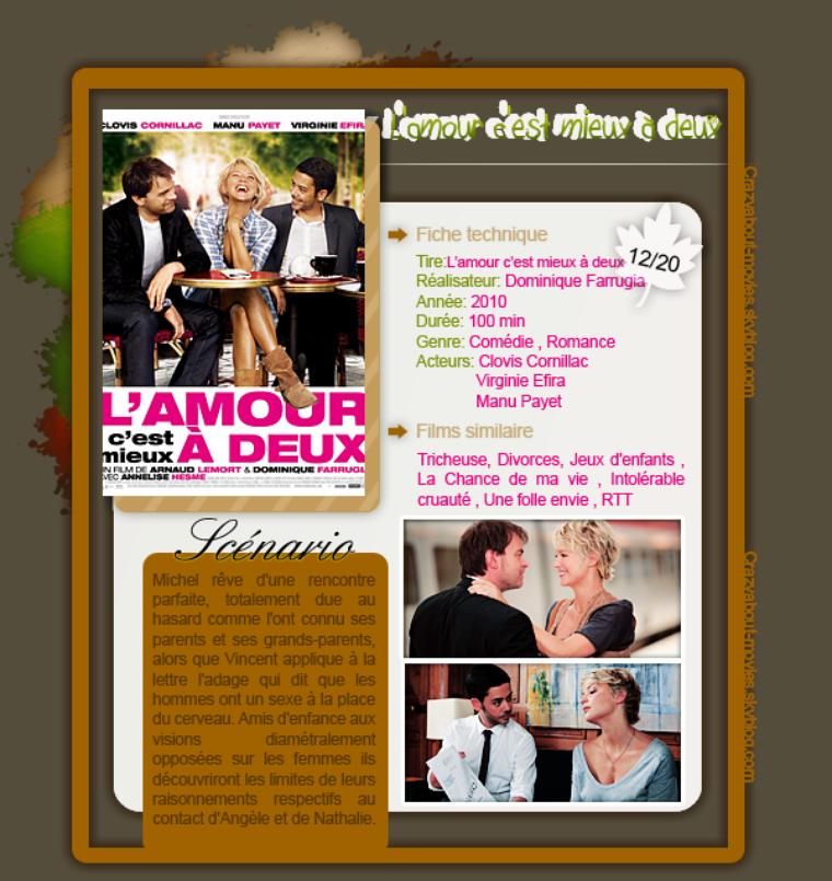 L'amour c'est mieux à deux de Dominique Farrugia et Arnaud Lemort avec Clovis Cornillac, Virginie Efira et Manu Payet