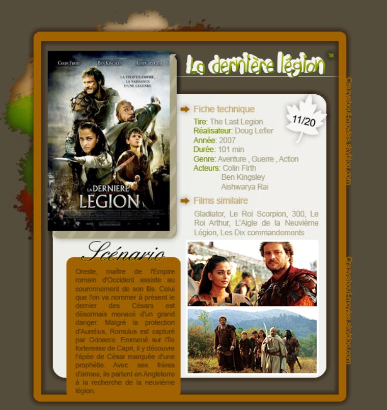 La dernière légion de Doug Lefler avec Colin Firth, Ben Kingsley et Aishawarya Rai.