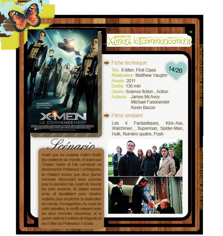 X-men: le commencement de Matthew Vaughn avec  James McAvoy, Michael Fassbender et Kevin Bacon