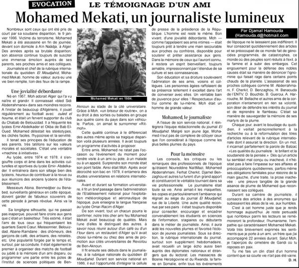 Mohamed Mekati, un journaliste lumineux