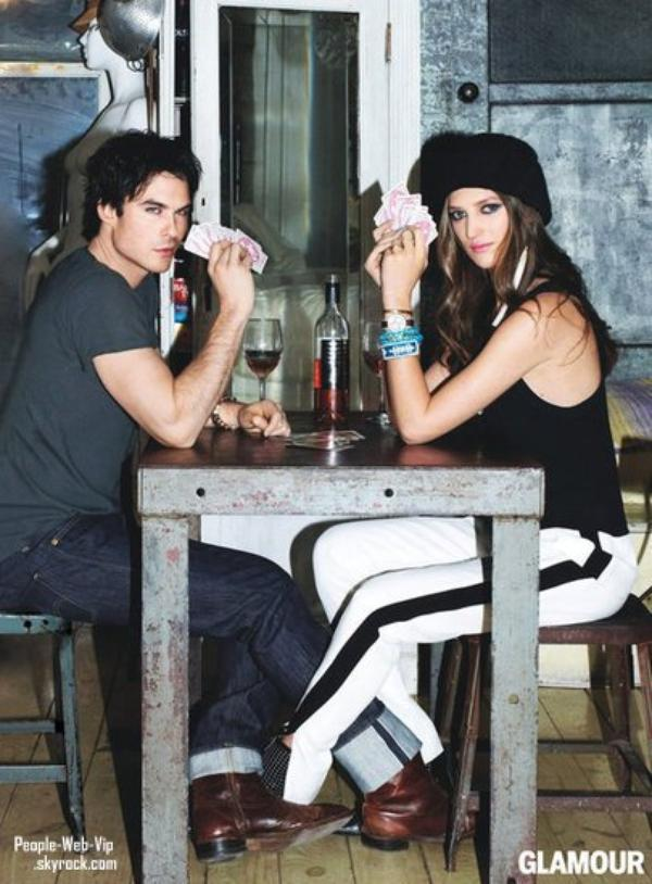 """Ian Somerhalder pose pour """"Glamour Magazine Avril"""" Avec Michelle Ouellette"""