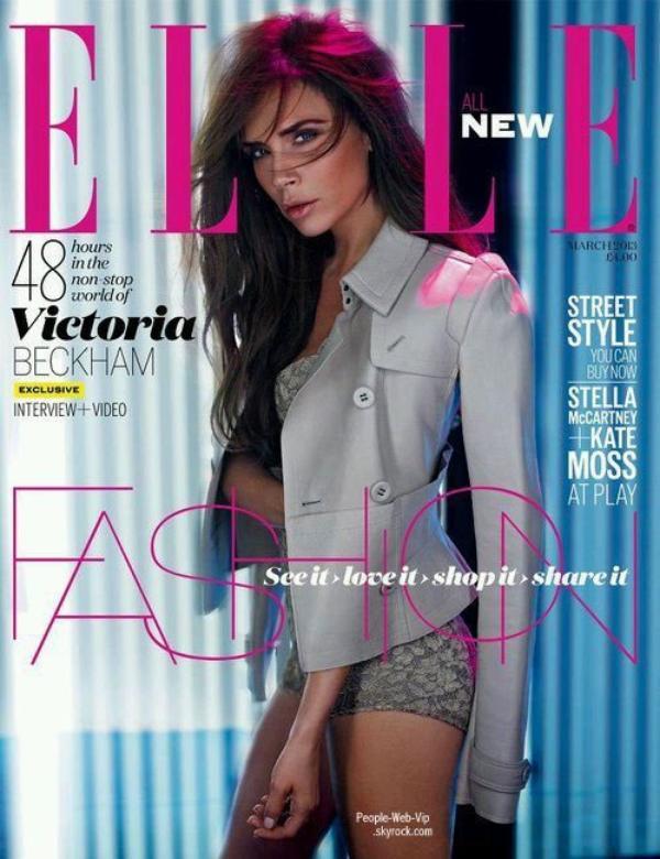 """Victoria Beckham  En couverture du magazine """"ELLE"""""""