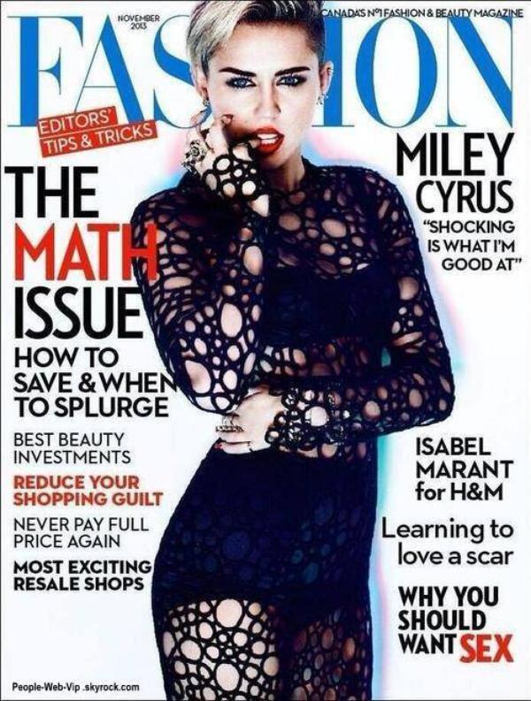 """Miley Cyrus  En couverture du magzine canadien """" Fashion"""""""