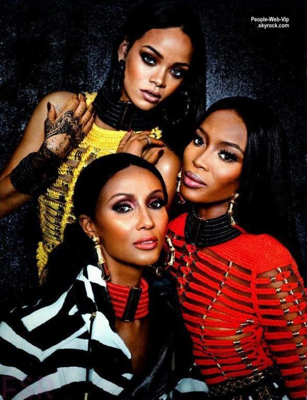 Rihanna a aussi posé en compagnie d'Iman Abdulmajid et Naomi Campbell !  2/2