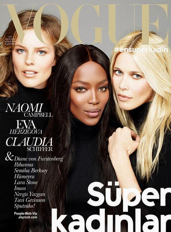 """Eva Herzigova, Naomi Campbell, Claudia Schiffer photographiées par Cuneyt Akeroglu En couverture du magazine """"Vogue Turquie"""". Qu'en pensez vous ?"""
