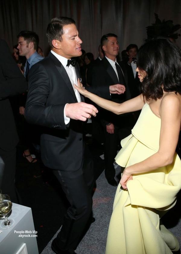 """Channing Tatum et sa femme Jenna Dewan-Tatum ont dansé jusqu'au bout de la nuit lors de la soirée """"The Weinstein Company & Netflix's party """" qui s'est tenue après les Golden Globe Awards 2015 tenue à l'Hôtel Beverly Hilton  (dimanche (11 Janvier) dans Beverly Hills, en Californie.)"""