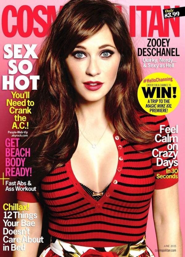 """Zooey Deschanel pose sur la couverture du magazine """"Cosmopolitan""""  Qu'en pensez vous?"""