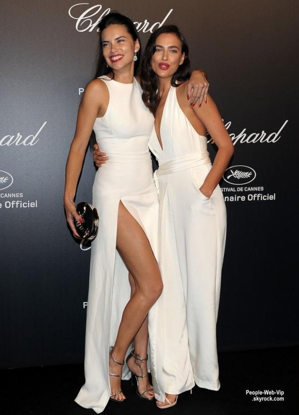 """Irina Shayk a été aperçue avec Adriana Lima lors de la soirée """"Chopard Gold Party"""" pendant le Festival de Cannes 2015  (lundi (18 mai) à Cannes, France.)"""