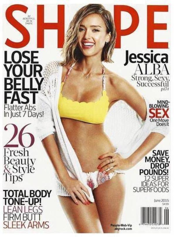 """Jessica Alba pour le magazine """" Shape"""" a paraître en juin. Qu'en pensez vous?"""