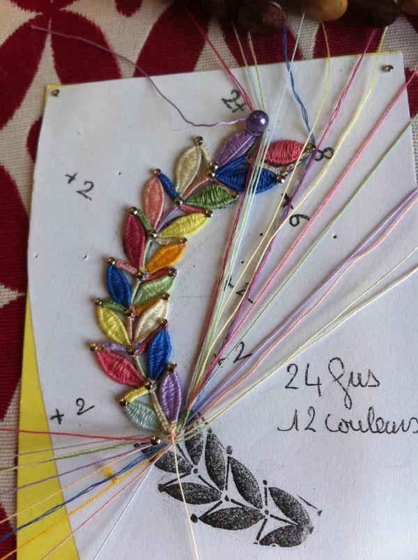 MONIQUE R. festival de couleurs pour cet exercice d'apprentissage de point d'esprit à 6 , 8 et 10 fuseaux. Voilà... ce mystère, dont nous parlions depuis un moment, est non seulement élucidé mais démystifié, le P.E. 4 fuseaux fait peur alors Grand Dieu avec 10 ! mais bravo les filles , vous vous en êtes super bien sorties !