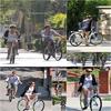le 28/06/2010  miley et liam premenat avec leur bicyclette