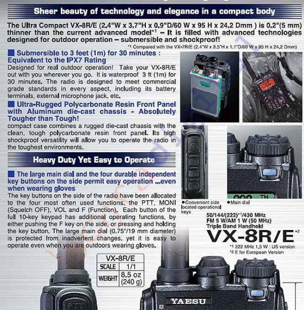 Yaesu vx-8de tri bande de poche