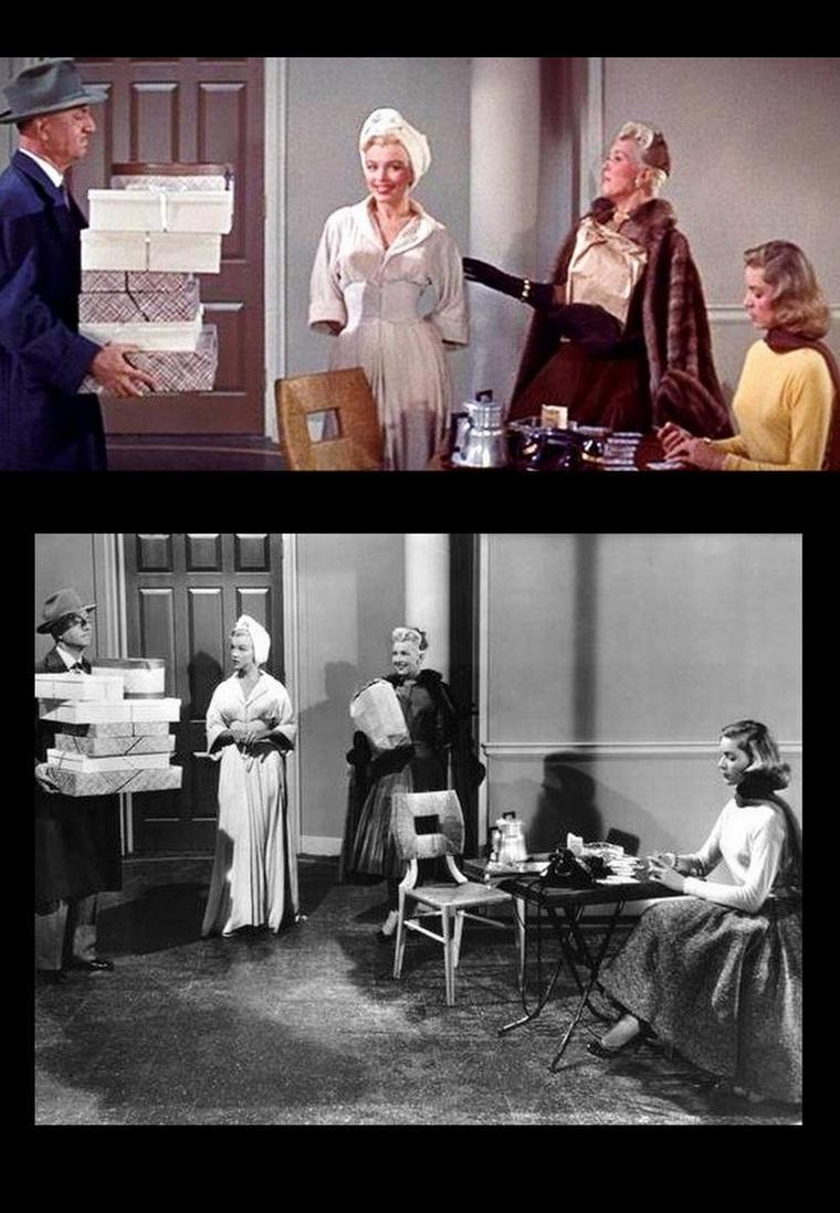"""1953 """"How to marry a millionaire"""" (Comment épouser un millionnaire) de Jean NEGULESCO / Apparitions de Marilyn dans le film / Marilyn apparaît à la 10e minute, alors que Lauren BACALL vient de l'appeler pour lui annoncer qu'elle a déniché un appartement. Marilyn se heurte aux portes et aux gens lorsqu'elle ne porte pas ses lunettes. Les trois amies discutent des hommes et de leur plan / Marilyn, en peignoir, et Lauren papotent lorsque Betty GRABLE leur annonce une bonne nouvelle / Au restaurant avec sa conquête borgne, dans une robe moulante de couleur fuchsia vif (qui a été immortalisée dans une photo très connue, celle avec quatre reflets dans des miroirs). Puis toutes dans la ladies room à commenter leurs réussites respectives / Dans un rêve arabique, recevant moult bijoux / Lors d'un défilé de mode dans un maillot de bain une-pièce rouge vif, avec la présentatrice qui l'introduit d'un """"Diamonds are a girl's best friends"""" (les diamants sont les meilleurs amis de la femme), qui est le titre d'une chanson tirée du film de Marilyn : """"Les hommes préfèrent les blondes"""" (1953) / La rencontre avec monsieur DENMARK dans l'avion après deux chassés-croisés dans le logement / À la fête finale, Marilyn revient annoncer qu'elle est mariée / Une dernière scène dans un fast-food. Maintenant elle porte ses lunettes, définitivement."""