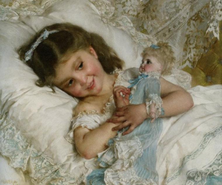 Enfant et poupée pour vous souhaiter une bonne nuit.