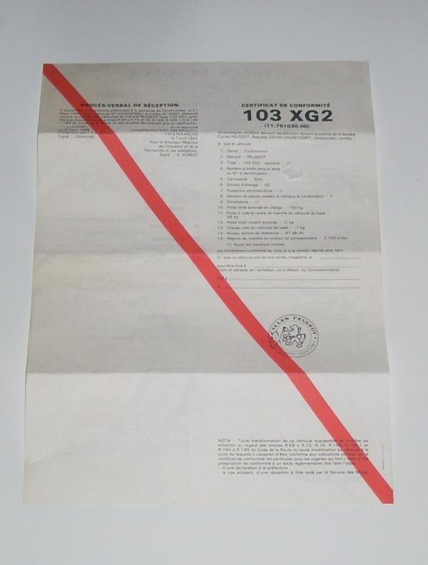 certificat de conformit peugeot 103 xg2 blog de mob49 9. Black Bedroom Furniture Sets. Home Design Ideas