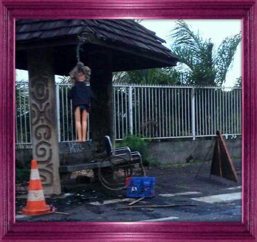 Surprise à l'arrêt de bus (Polynésie Française)