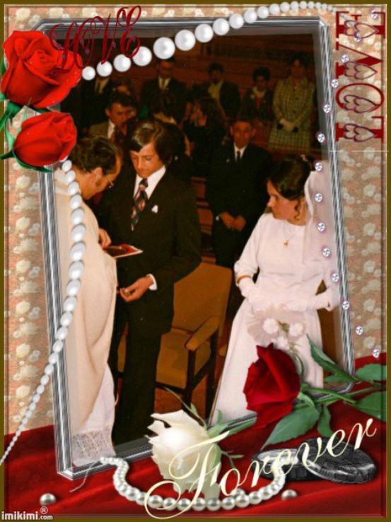 Mes amis voici des photos de notre mariage le 5 mai 1973. Aujourd'hui nous sommes le 5 mai 2021 c'est l' anniversaire de nos 48 ans mariage