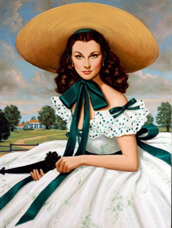 L'Une de mes Héroïnes, Scarlett O'Hara, Magnifiquement Dessinée..