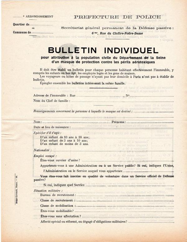 Bulletin attribution pour masque a gaz