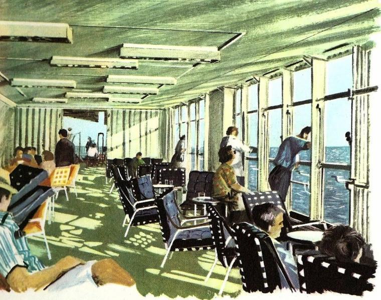 SS FRANCE : pont Veranda - terrase latérale Fumoir 1cl