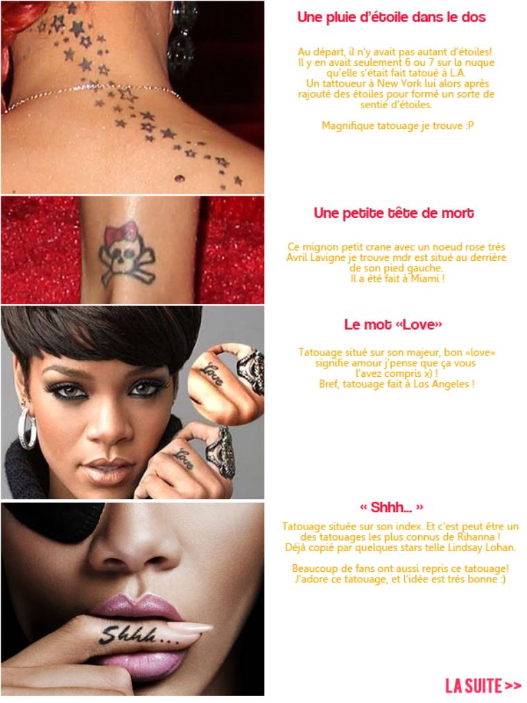 Zoom sur les tatouages de la belle rihanna - Lundi de pentecote signification ...