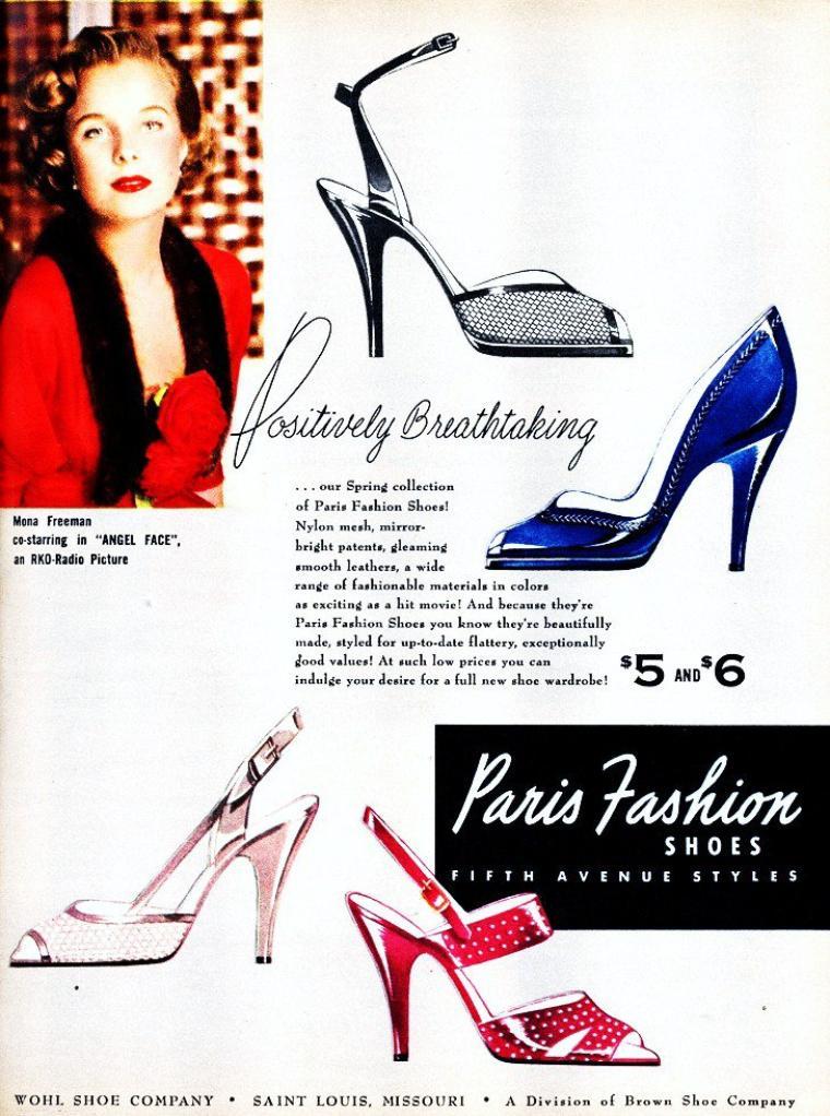 """LA RECLAME et les STARS : de haut en bas : Madeleine CARROLL pour """"Chesterfield"""" / Rita HAYWORTH pour """"Royal Crown Cola"""" / Marilyn MAXWELL pour """"Max Factor Hollywood"""" / Rosalind RUSSELL pour """"Chesterfield"""" / Martha TILTON pour """"Camels"""" / Mona FREEMAN pour """"Paris Fashion Shoes"""" / Veronica LAKE pour """"Lux"""" / Zsa Zsa GABOR pour """"Paper Mate""""."""