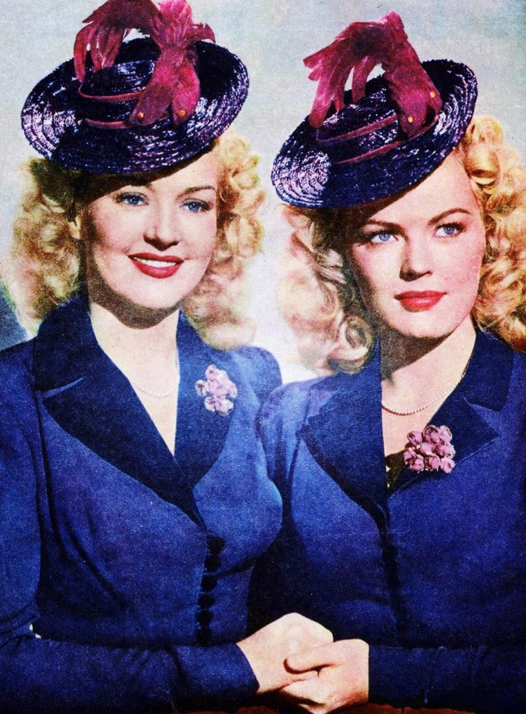 """""""Petits potins entre femmes""""... (de haut en bas) Veronica LAKE and Joan CAULFIELD / Audrey HEPBURN and Dovima (model) / Barbara LANG and Cyd CHARISSE / Betty GRABLE and June HAVER / Claudette COLBERT (à dr.) / Dolores GRAY (à dr.) / Ginger ROGERS (à g.) / Betty GRABLE, Lauren BACALL and Marilyn MONROE"""