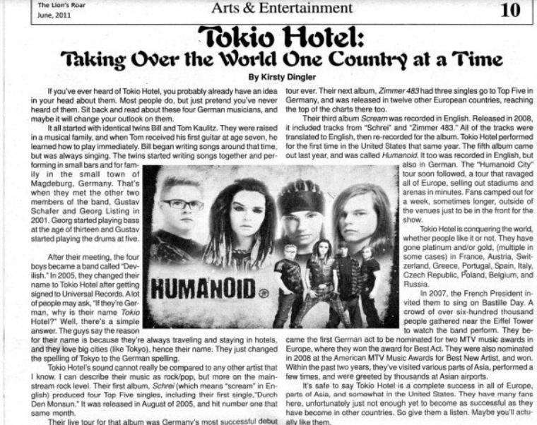 The Lion's Roar (Juin 2011) - Tokio Hotel conquit le monde un pays à la fois.