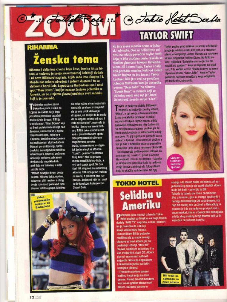 """""""Bravo"""" n° 81 (Serbie) - Tokio Hotel : ils se déplacent en Amérique"""